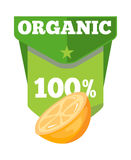 Organic natural fruit juice label template stock illustration