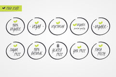 100% Organic Natural Gluten Sugar GMO Free Vegan Vegetarian Farm Fresh label. Food logo icons. Circle signs isolated. 100% Organic Natural Gluten Sugar GMO Free Stock Image