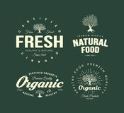 Organic natural and healthy farm fresh food retro emblem set. Vintage olive tree logo isolated on green background. Premium quality certified vegetarian Stock Photo