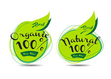 Organic and Natural Logos. Illustration of organic and natural logos Stock Photo