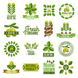 Organic Natural Olive Oil Label Set Stock Photo