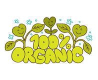100% Organic natural product. Cartoon illustration Stock Photos