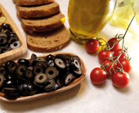 Organic and natural sliced black olive stock photography