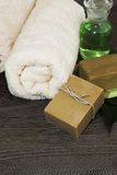 Organic natural soap. With towel and oil Royalty Free Stock Photography