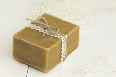 Organic natural soap. On white background Royalty Free Stock Photography
