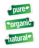 Organic and natural stickers. Royalty Free Stock Photo