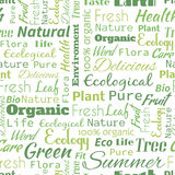 Organic or Natural text word  seamless pattern, metaphor to ecol Royalty Free Stock Images