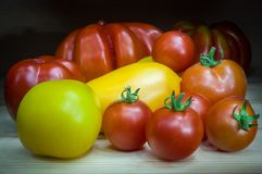 Organic natural tomatoes, different colors and shapes stock photo