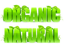 Organic and Natural words. Stock Image
