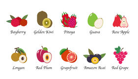 A Organic nature health fruit isolated vector collection set. Organic nature health fruit isolated vector collection set Royalty Free Stock Image