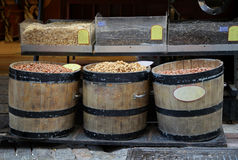 Nuts barrels Royalty Free Stock Images