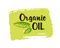 Organic oil hand drawn label isolated illustration. Natural beauty, healthy lifestyle, eco spa, bio care ingredient. Organi. C oil badge, icon, logo for natural vector illustration