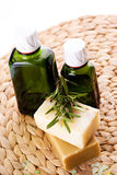 Organic oil with  and rosemary Royalty Free Stock Photo
