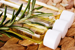 Organic oil with  rosemary closeup Royalty Free Stock Photos