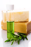 Organic oil with soap. And rosemary stock photos