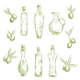 Organic olive oil with fresh fruits sketch icons. Retro sketch drawings of wholesome organic olive oil in decorative figured glass bottles with cork stoppers and Stock Image