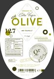 Organic olive oil label template. Healthy agriculture product, natural vegetarian nutrition vector illustration. Layout of food identity branding, modern Royalty Free Stock Image