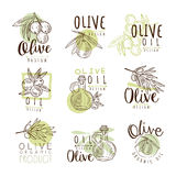 Organic olive product set for label design. Organic, natural and healthy food. Vector Illustrations Royalty Free Stock Photography