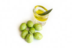 Organic Olives And Olive Oil Stock Images