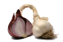 Organic onion and garlic Stock Images