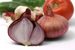 Organic onion with veggies Royalty Free Stock Photography