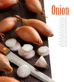 Organic  onion on wooden table Stock Image