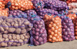 Organic onions and potatoes to sale at the farmers market Royalty Free Stock Image