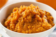 Organic Orange Pumpkin Puree Stock Photo