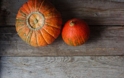 Organic orange pumpkins on wooden table, thanksgiving pumpkin background, autumn harvest Stock Images