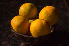 Organic oranges freshly plucked from farm is arranged on a wooden bowl isolated on a black background. royalty free stock images