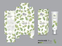 Organic packaging Template Vector Illustration. Package tags. Healthy products, Cream layout. beauty products. Fresh ecological. nature box. green tea, Body royalty free illustration