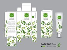 Organic packaging Template Vector Illustration. Package tags. Healthy products, Cream layout. beauty products. Fresh ecological. nature box. green tea, Body Stock Image