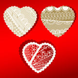 Organic Patterened Hearts scalloped edges Stock Photo