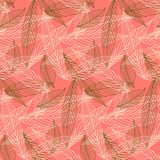 Organic pattern with leafs drawn in thin lines. Simple elegant pattern with leafs drawn in lines in pink color. Seamless vector texture for web, print, wallpaper Stock Images