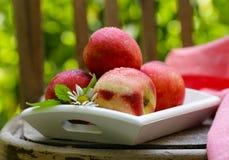 Organic peach fruit stock photos