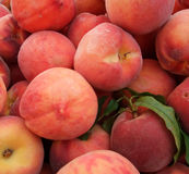 Organic Peaches. Detail of Organic Orchard Peaches at Farmers Market Stock Photography