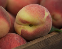 Organic Peaches in a Wooden Box at a Farmers Market. In Summer royalty free stock photography