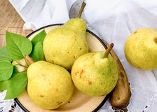 Organic pear - pears in rustic plate Royalty Free Stock Image