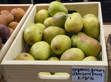 Organic Pears. Fresh Organic Pears for sale at the Front Street Market in Columbus Ohio Royalty Free Stock Photo