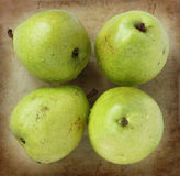 Organic pears on an old rustic stone chopping board Royalty Free Stock Photography