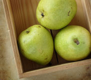 Organic pears on an old rustic stone chopping board Royalty Free Stock Photos