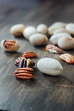 Pecan nuts on table Stock Photos