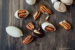 Pecan nuts on table Stock Photo