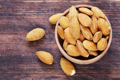 Organic peeled nuts almonds Royalty Free Stock Photos