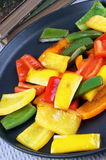 organic peppers on a pan Royalty Free Stock Image