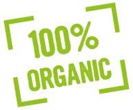 100% organic. 100 percent organic stamp in green stock illustration