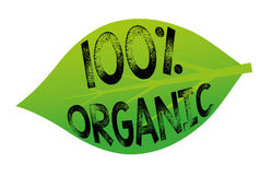 100% Organic. 100 percent organic tag in a green leaf Royalty Free Stock Photos