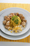 Organic pilau rice with chicken Stock Photography