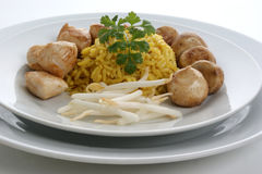 Organic pilau rice with grilled chicken Royalty Free Stock Photography