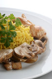 Organic pilau rice with grilled chicken Stock Image